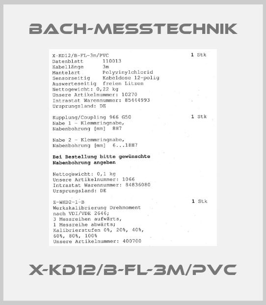 Bach-messtechnik-X-KD12/B-FL-3m/PVC price