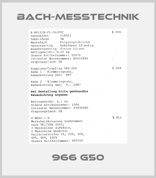 Bach-messtechnik-966 G50 price