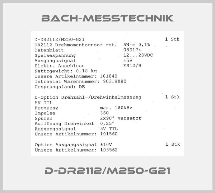 Bach-messtechnik-D-DR2112/M250-G21 price