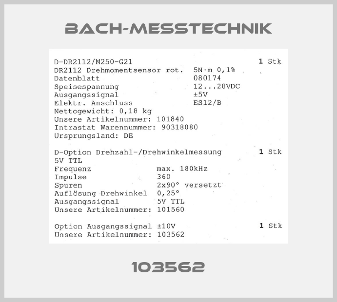 Bach-messtechnik-103562 price